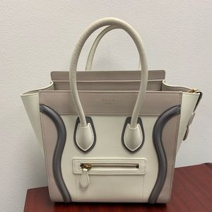 Celine Mini Luggage White/Grey Smooth Calfskin